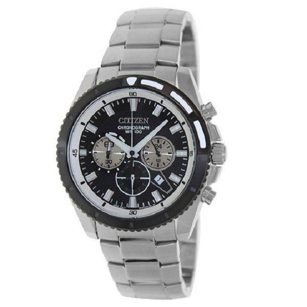Citizen Men's Quartz Black Dial Silver Stainless Steel Quartz Watch
