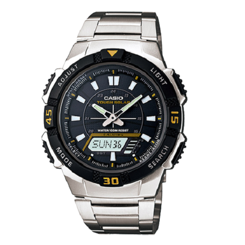 Casio Tough Solar Black Dial Men's Sports Stainless Steel Wrist Watch
