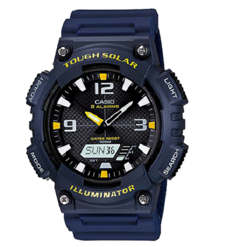 Casio Sport Tough Solar Blue Resin Black Dial Men's Digital Watch