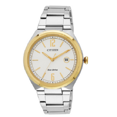 Citizen Men's Dual Tone Eco-Drive White Dial Stainless Steel Watch