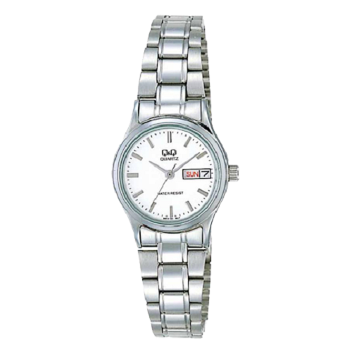 Q&Q Stylish White Dial & Date Stainless Steel Strap Ladies Watch