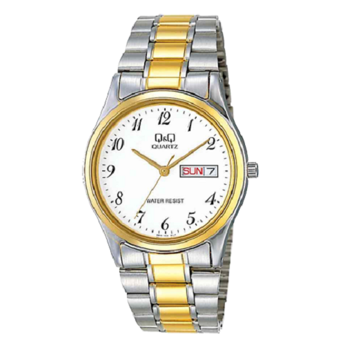 Q&Q Dress Two Tone Women's Day & Date Quartz Wrist Watch