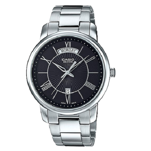 Casio Stainless Steel Strap Classic Stylish Men's Silver Black Watch