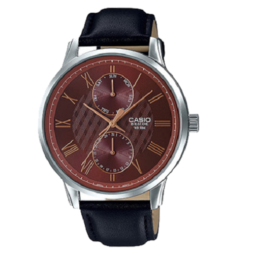Casio Men's Brown Dial Leather Band Quartz Analog Watch