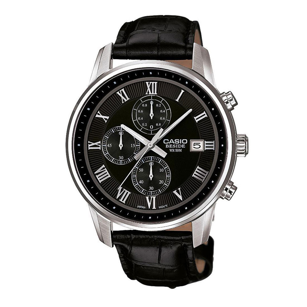 Casio BEM-511L-1AV Men's Wrist Watch with Leather Strap