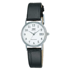 Q&Q Analog Ladies White Dial Black Leather Watch