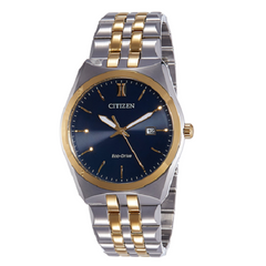 Citizen Analog Blue Dial Men's Solar Gold Two Tone Watch