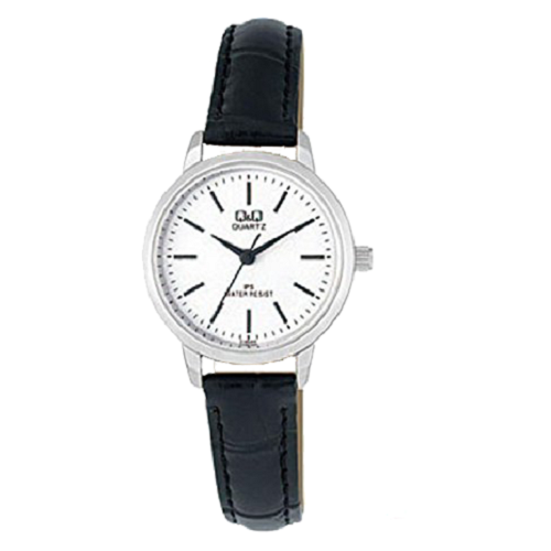 Q&Q Quartz White Black Dial Leather Ladies Wrist Watch