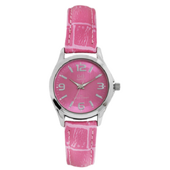 Q&Q Analog Pink Dial Pink Leather Strap Women's Watch