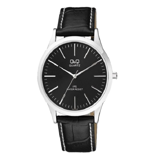 Q&Q Analog Black Dial Black Leather Strap Men's Watch