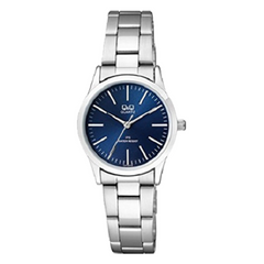 Q&Q Ladies Analog Blue Dial Silver Strap Stainless Steel Watch