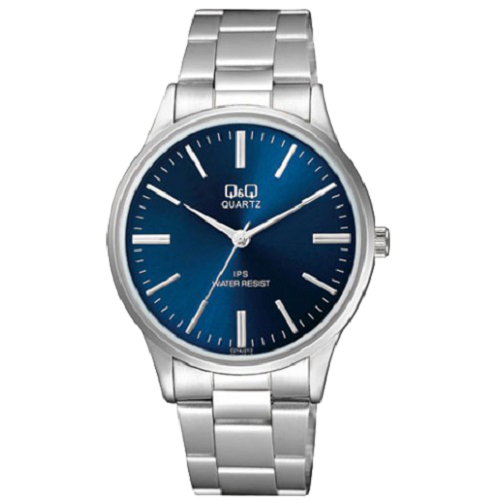 Q & Q Men's Analog Blue Dial Silver Strap Stainless Steel Watch