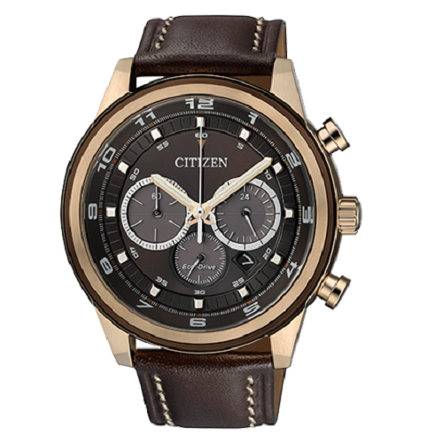 Citizen Men's Brown Eco-Drive Leather Strap Watch