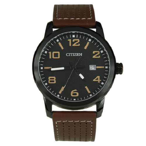 Citizen Men's Brown Leather Quartz With Black Dial Watch