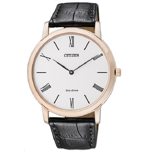 Citizen Mens Eco Drive Ultra Slim Brown Leather Dress Watch