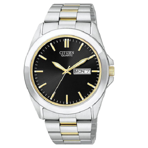 Citizen Men's Two Tone Bracelet With Black Dial Watch