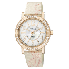 Q & Q Ladies Fashion Quartz Pink Gold And White Leather Strap Watch