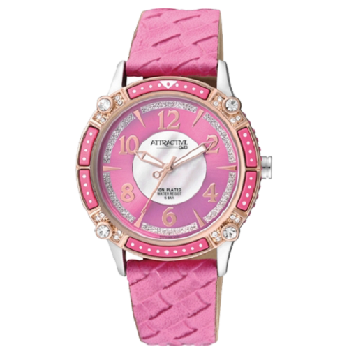 Q&Q Women's Stylish Leather Strap Decorated With Crystals Watch