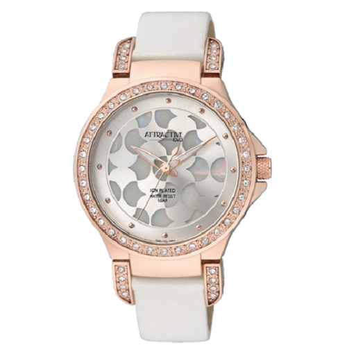 Q&Q Women's Stylish Leather Strap Silver Dial Crystal Watch