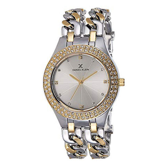 Daniel Klein Analog Crystal Silver Dial Women's Watch