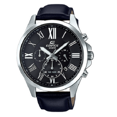 Casio Men's Casual Black Dial Black Leather Analog Watch