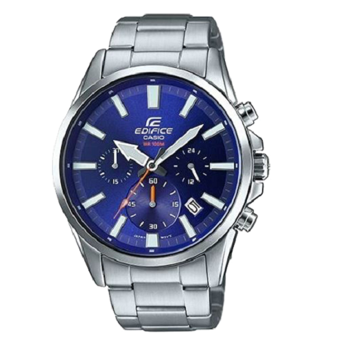 Casio Edifice Silver Blue Dial Chronograph Men's Watch
