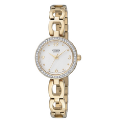 Citizen White Dial Ladies Analog Stainless Steel Dress Watch