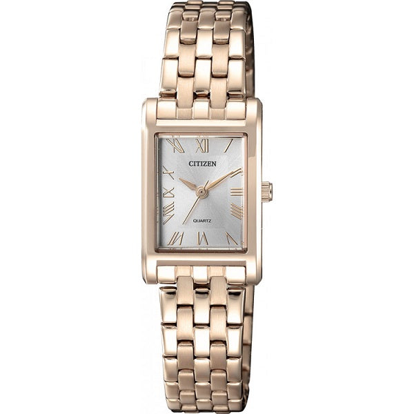 Citizen Women's Rose Gold Tone Stainless Steel Rectangular Watch