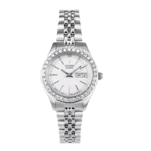 Citizen Quartz Mother Of Pearl Dial Crystal Bezel Ladies Watch