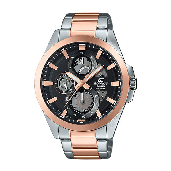 Casio Edifice Men's Black Dial Silver & Rose Gold Band Analog Watch