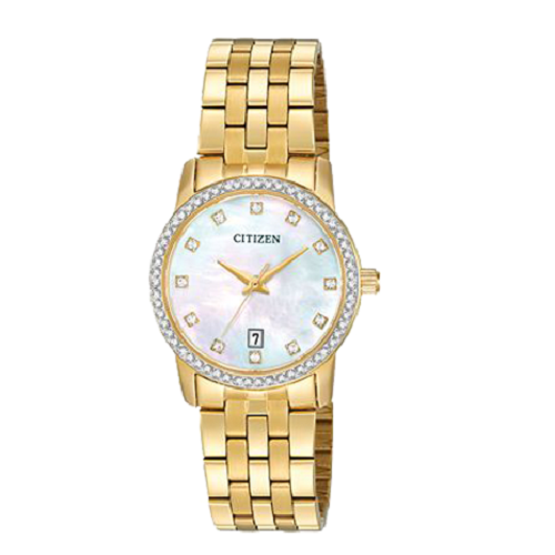 Citizen Quartz Women's Gold Tone Pearl Dial Crystal Watch