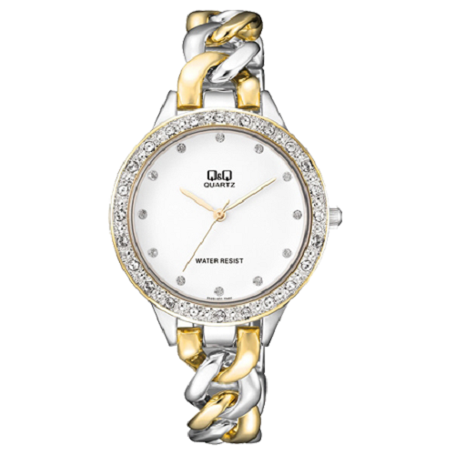 Q&Q Woman's Fashion White Dial Stainless Steel Bracelet Watch