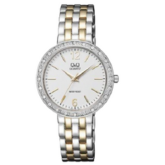 Q&Q Ladies Fashion White Dial Two Tone Stainless Steel Watch