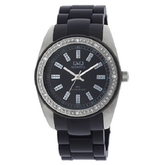 Q&Q Ladies Fashion Black Dial Stainless Steel Watch