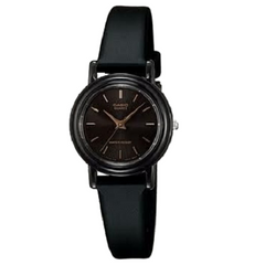 Casio Ladies' Casual Black Analog Resin Strap Black Dial Watch
