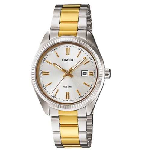Casio Analog Ladies Standard Dress Stainless Steel Two Tone Watch