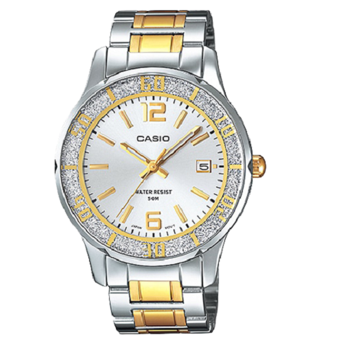 Casio Women's Bezel Two Tone Golden Metal Fashion Watch