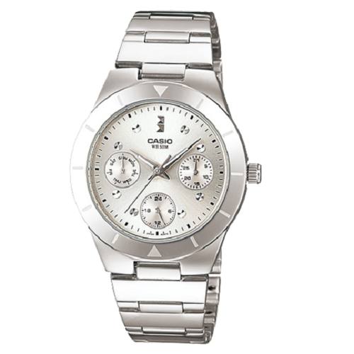 Casio Lady's Silver Stainless Steel Quartz Silver Dial Fashion Watch