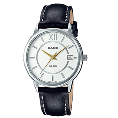 Casio Ladies White Dial Black Leather Band Analog Wrist Watch