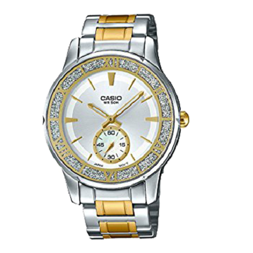 Casio Women Silver & Gold Crystals Dial Stainless Steel Watch