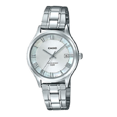 Casio Ladies Silver Dial Silver Band Date Stainless Steel Watch