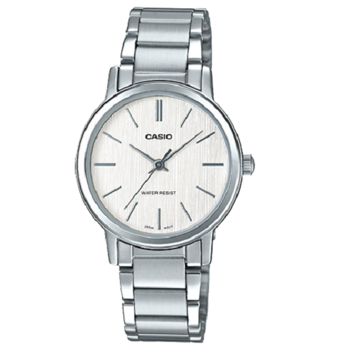 Casio Ladies Silver Dial Silver Band Stainless Steel Watch