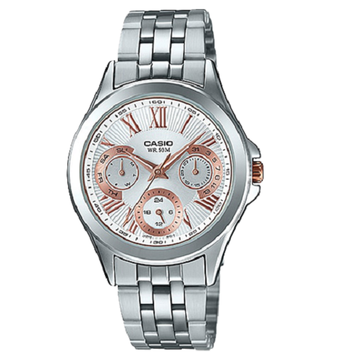 Casio Enticer Lady's Silver White Analog Quartz Watch