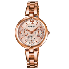 Casio Ladies Rose Gold Dial Multi Dial Analog Stainless Steel Watch