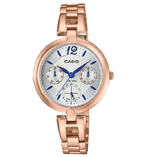 Casio Ladies Analog Stainless Steel Rose Gold Dial Multi Dial Watch