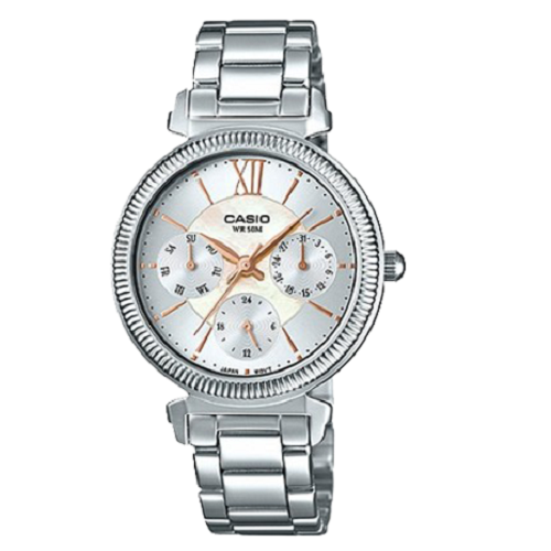 Casio Women Silver Band Stainless Steel Multi-Dial Analog Watch