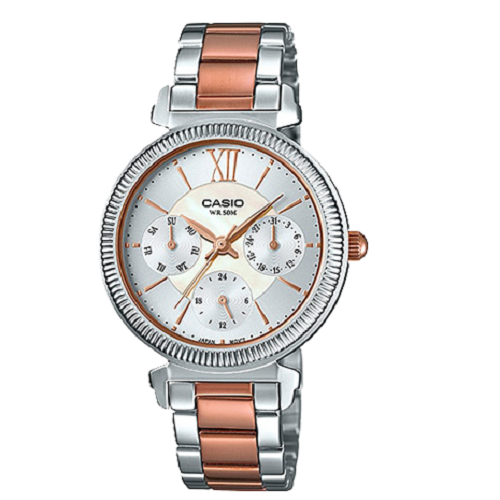 Casio Women Silver & Rose Gold Band Stainless Steel Watch
