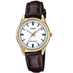 Casio Women's Golden Bezel Brown Leather Analog Watch