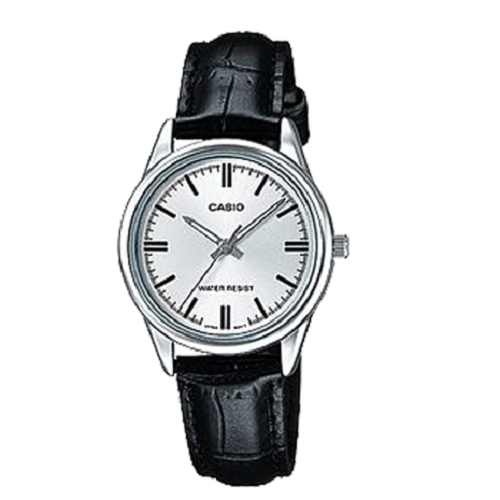 Casio Ladies Classic Black Leather Band Silver Dial Analog Watch