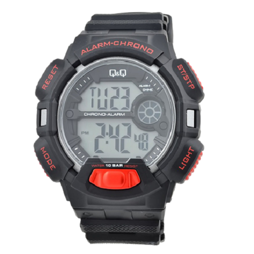 Q & Q Digital Sports Men's Black Dial Black And Red Case Wrist Watch